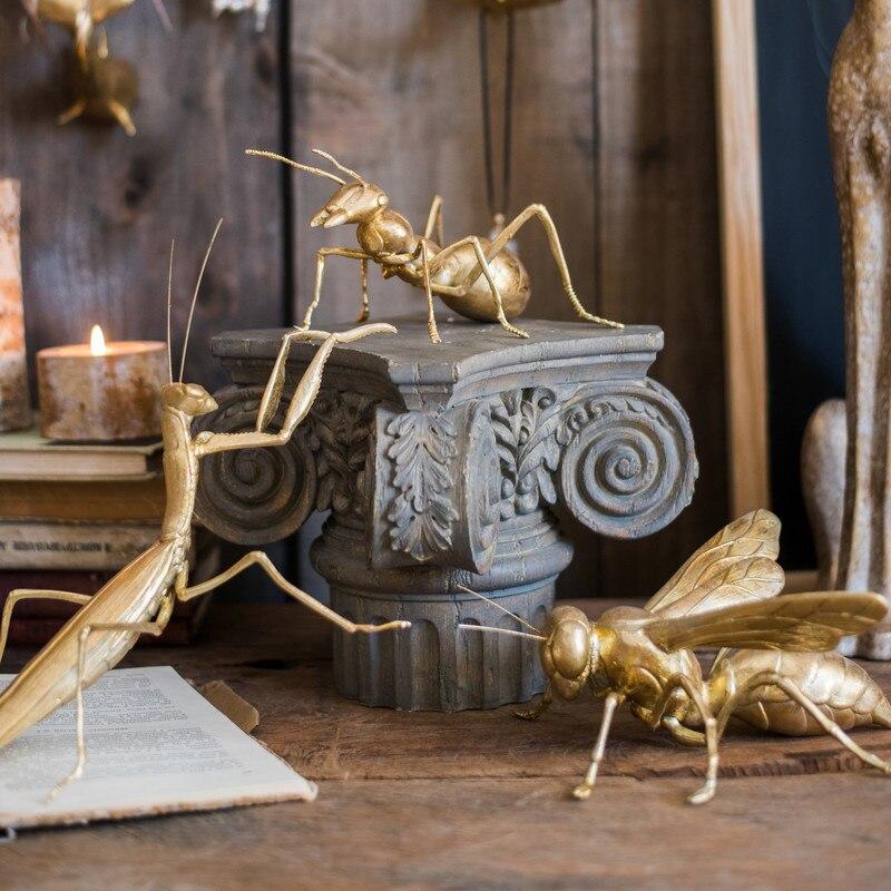 Decoraciones de Insectos gigantes artesanías de resina arte de las hormigas de las abejas decoración neoclásica dorada hogar Decoración accesorios modernos