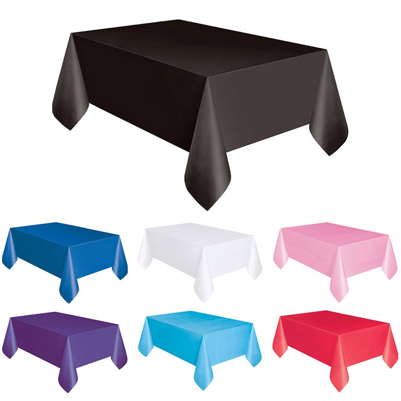 O pano de mesa descartável plástico da cor sólida impermeável cobre para o retângulo da toalha de mesa da festa de aniversário do casamento/redondo