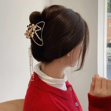 2021 Korean Hollow Out Butterfly Tassel Hair Pins For Women Girl Vintage Metal Golden  Clip Jewelry