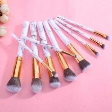 Mayitr 10 pièces maquillage professionnel Brusher blanc cosmétique poudre fond de teint fard à paupières lèvres brosse ensemble
