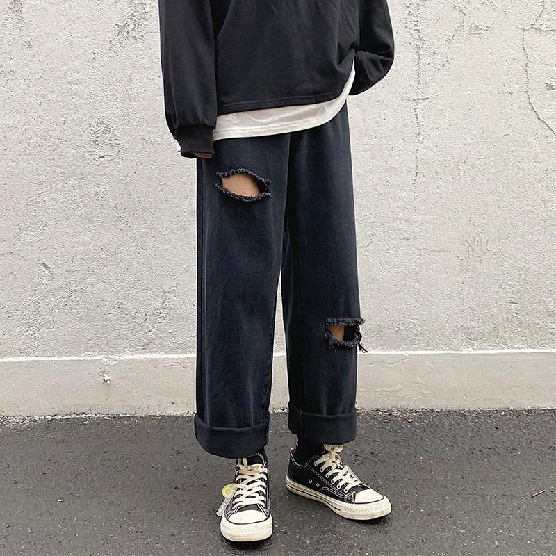 Fashion Mens Ripped Hole Straight Loose Jeans Male Streetwear Denim Trousers Classic Black Men Four Seasons S-5XL