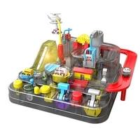 transparent adventure game racing rail car model racing educational toy children track car brain game mechanical toys