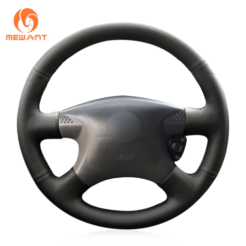 MEWANT Black Artificial Leather Steering Wheel Covers for Nissan Bluebird Sylphy Caravan Expert Pickup AD Serena Sunny 1998-2002
