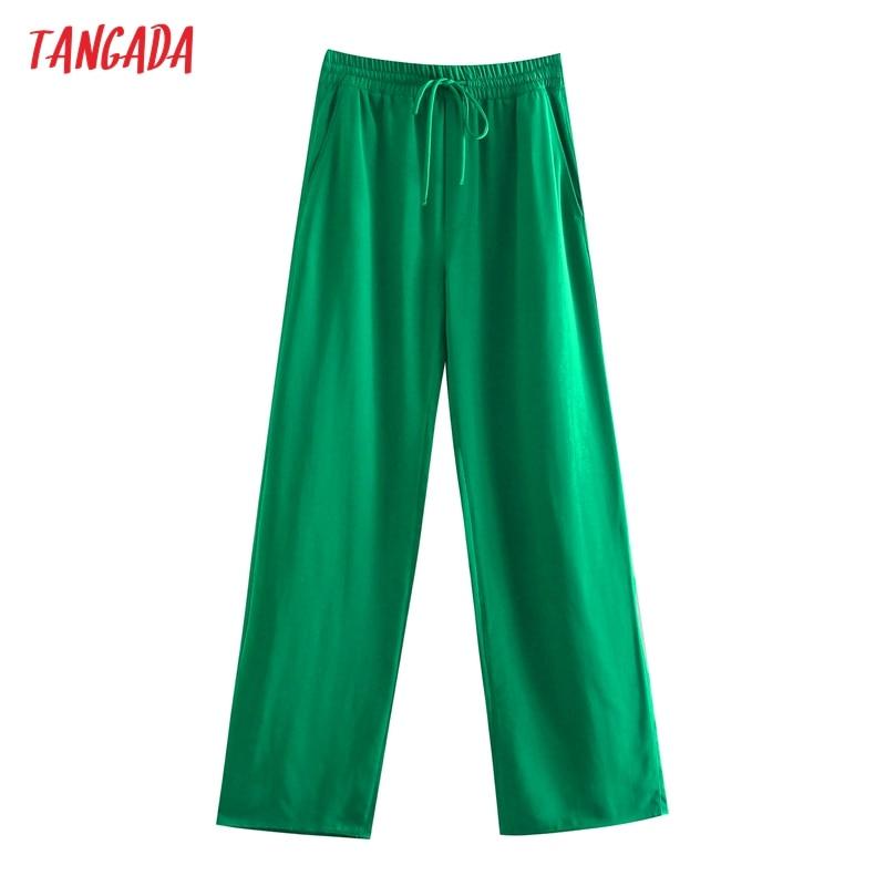 Tangada Fashion Women Green Casual Long Pants Trousers Vintage Style High Street Lady Pants Pantalon 5Z68