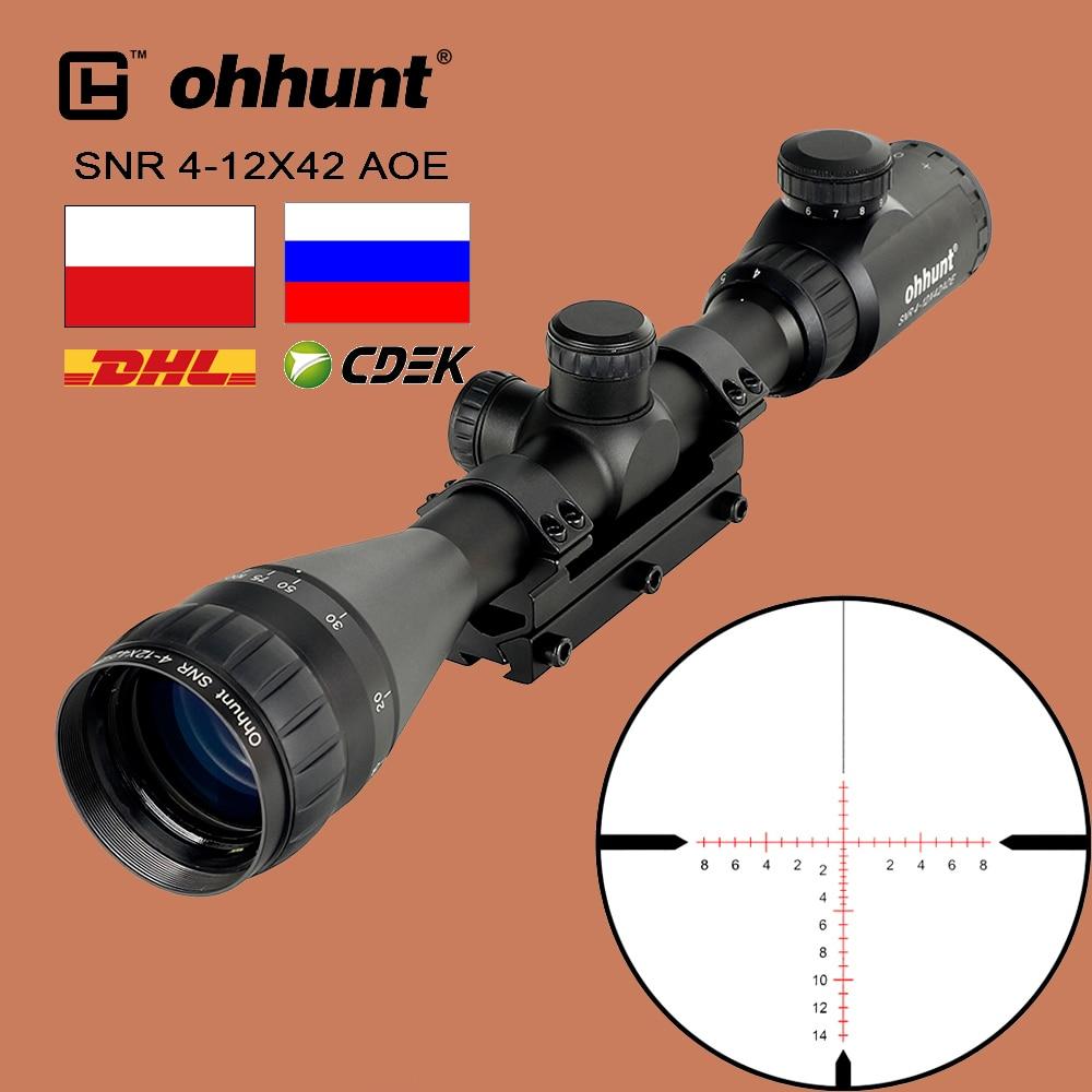 Ohhunt 4-12X42 AOE mira telescópica de caza rojo verde iluminado vidrio grabado retícula óptica táctica vistas con montura de una pieza