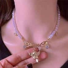 Collier de perles dimitation à 1 brin avec pendentif, ailes dange CZ, ras du cou pour femmes, cadeau de saint-valentin, breloque daile dange KL2
