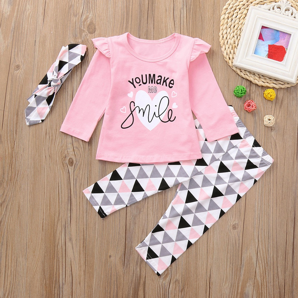 Newborn Baby Clothes Set Toddler Infant Baby Girls Letter Print Tops Geometric Pants Outfits Set Clothing комплекты одежды