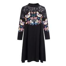 Noir creux robe dentelle grande taille femmes vêtements 5XL 2020 printemps tenue décontractée imprimer des robes de femmes en vrac Vestidos robes FYY317