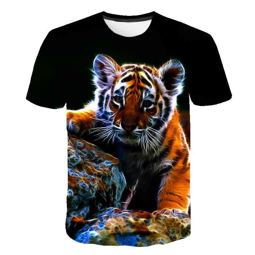 Camisetas de verano para niños de 2 a 16 años, camisetas de manga corta para niños, ropa para bebé, Camiseta con estampado de tigre en 3D, ropa