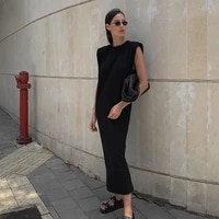 qicius black white summer maxi dress casual chic fashion streetwear dresses solid elegant party outfits female vestidos d081