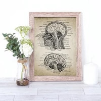 vintage brain head anatomy patent nordic poster wall art canvas painting wall pictures for living room home decor unframed