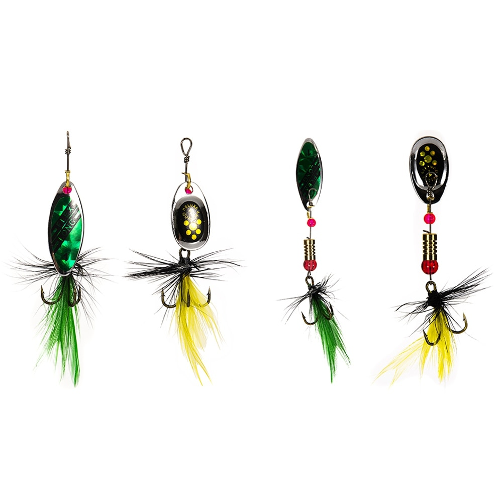 10pcs Fishing Lures Spinner Baits With Box Shrimp Squid Tail Fishing Lures Bionic Feather Bait Kit