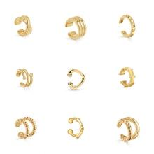 Модные женские серьги-манжеты золотого и серебряного цвета в стиле панк, милые маленькие серьги-клипсы для ушей, элегантные ювелирные изделия без пирсинга