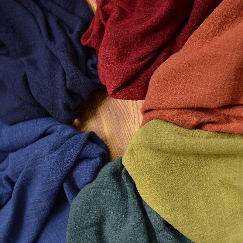 130cm x50cm thin solid color Sand washing treatment cotton linen cloth slub soft fabric diy dress robes clothing handmade 160g/m