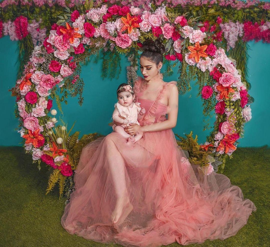 مريح تول فساتين الحوامل شفاف شفاف طويل وردي الخصبة انظر من خلال كشكش مثير حجم كبير فستان الزفاف