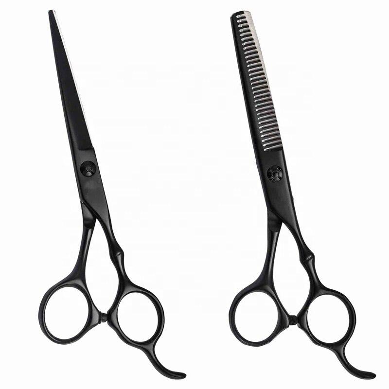 Tijeras profesionales para cortar el pelo, accesorio negro de 6 pulgadas para...
