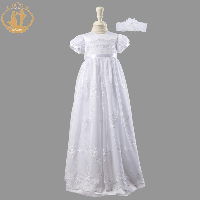 Nimble Newborn Baby Girls Christening Gowns White Lace Embroidered Baptismal Floor-Length Infant Dress VestidosTwo Pieces 2021