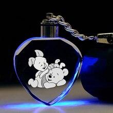 Disney ourson porcelet figurines danime jouet dessin animé coeur produits accessoires personnalisés porte-clés lumineux à LED cadeaux danniversaire