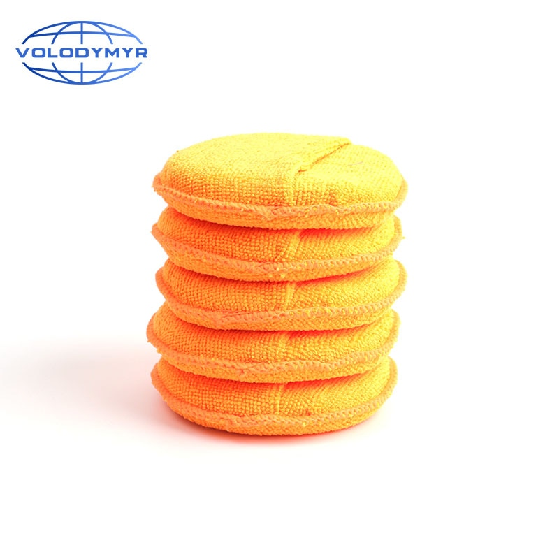 Wax Applicator Microfiber Pad Polishing Sponge 5 Inch Diameter After Waxing for Auto Cleaning Car Clean Detail Detailing Tools недорого