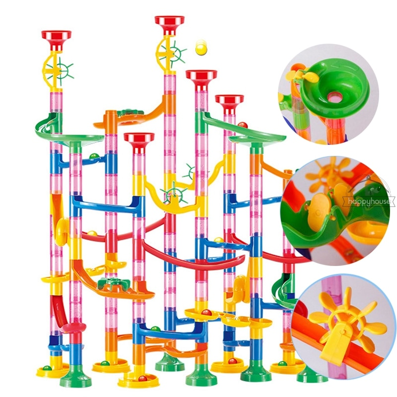 Marble Run Race Track Building Blocks Kids 3D Maze Ball Roll Toy DIY Marble Run Race Coaster Set 80/