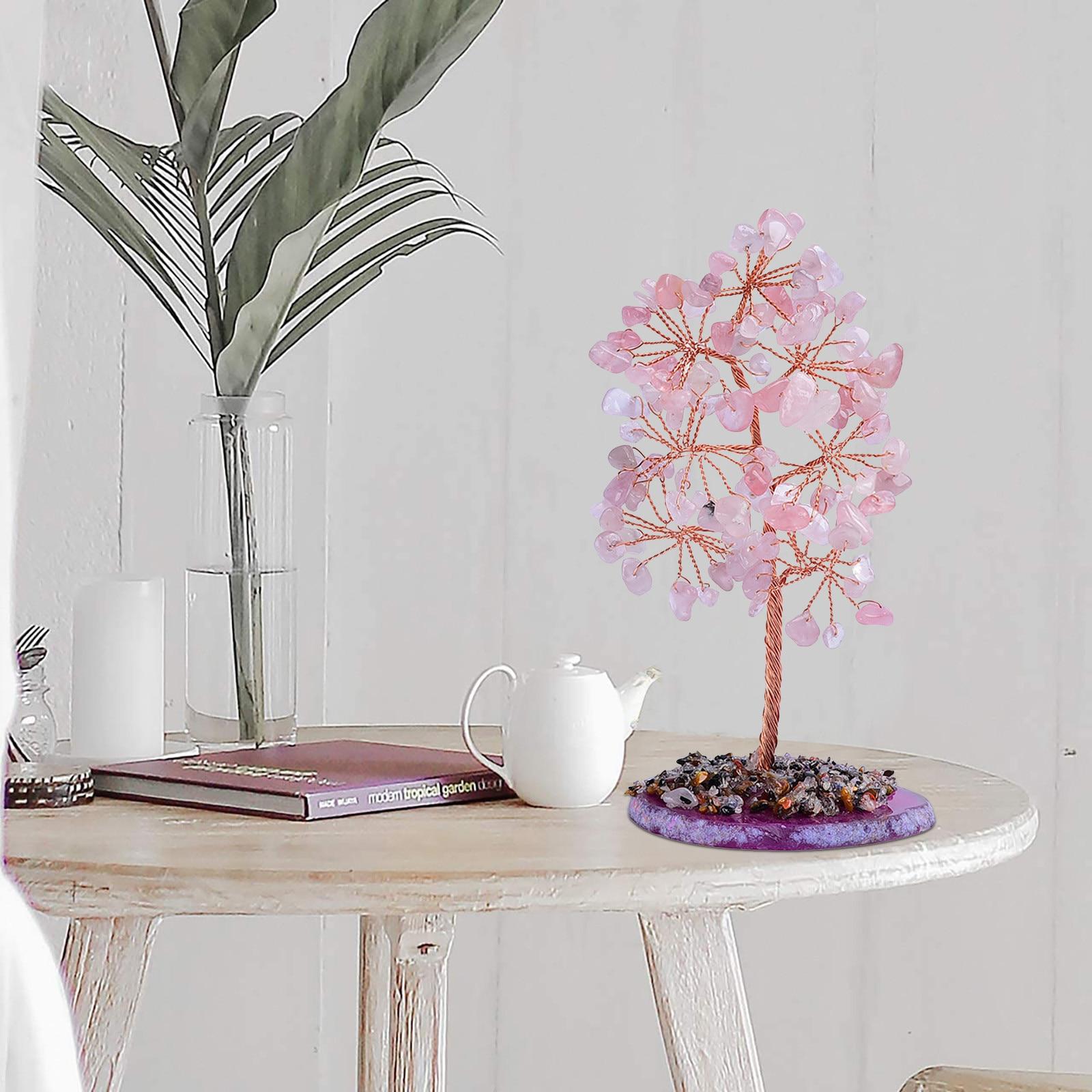 Feng Shui Citrine Money Tree Natural Crystal Bonsai Lucky Plant Gemstone Quartz Fortune Crystal Tree Topper Good Luck Home Decor