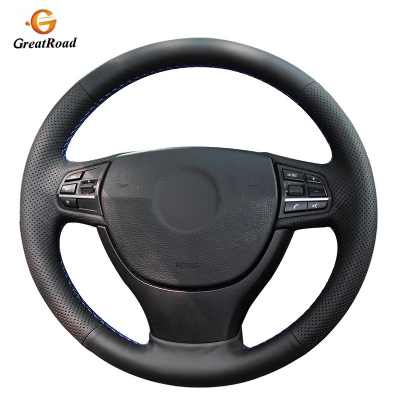 Funda de volante de cuero genuino negro cosida a mano para BMW F10 523Li 525Li 2009 730Li 740Li 750Li