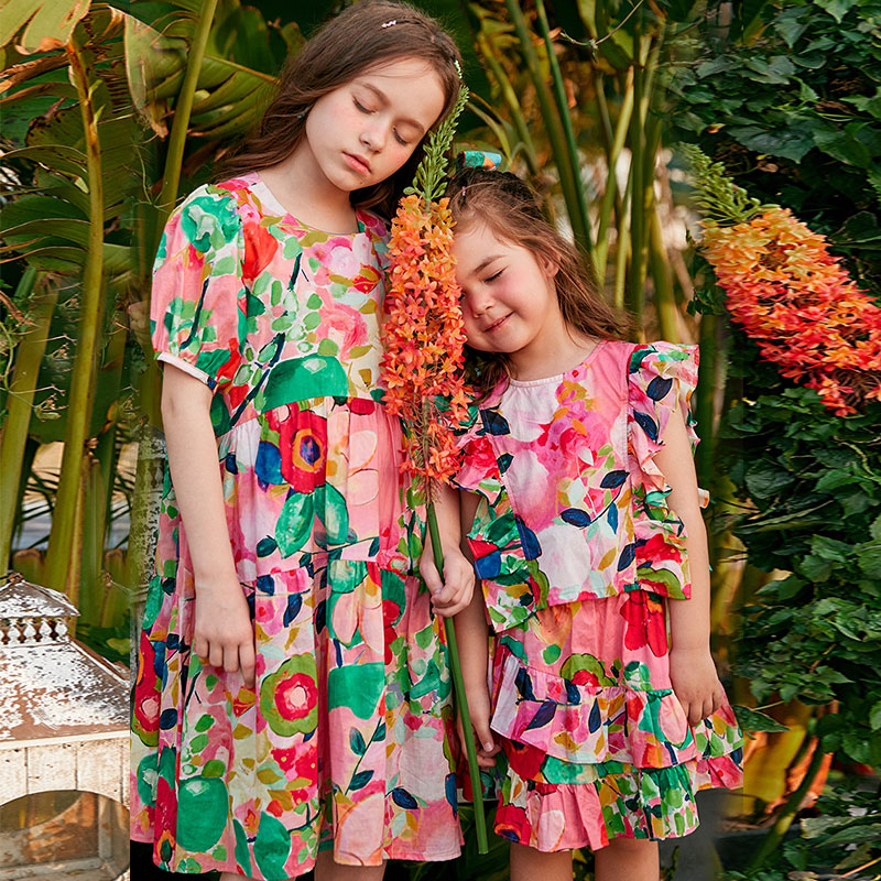 Floral Dress Short-Sleeved 2021 New Summer Beach Dresses Sister Dress Children's Holiday Dress Mommy And Daughter Matching  131 enlarge