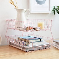 Dual Layer Storage Basket Pink Wrought Iron Stackable Basket Desktop Cosmetics Finishing Basket Office Paper Organizer Cleave