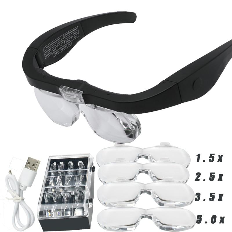مكبرة نظارات مكبرة 1.5x 2.5X 3.5X 5.0X أوسب قابلة للشحن مع مصباح ليد لقراءة المجوهرات الساعات إصلاح يرتدي