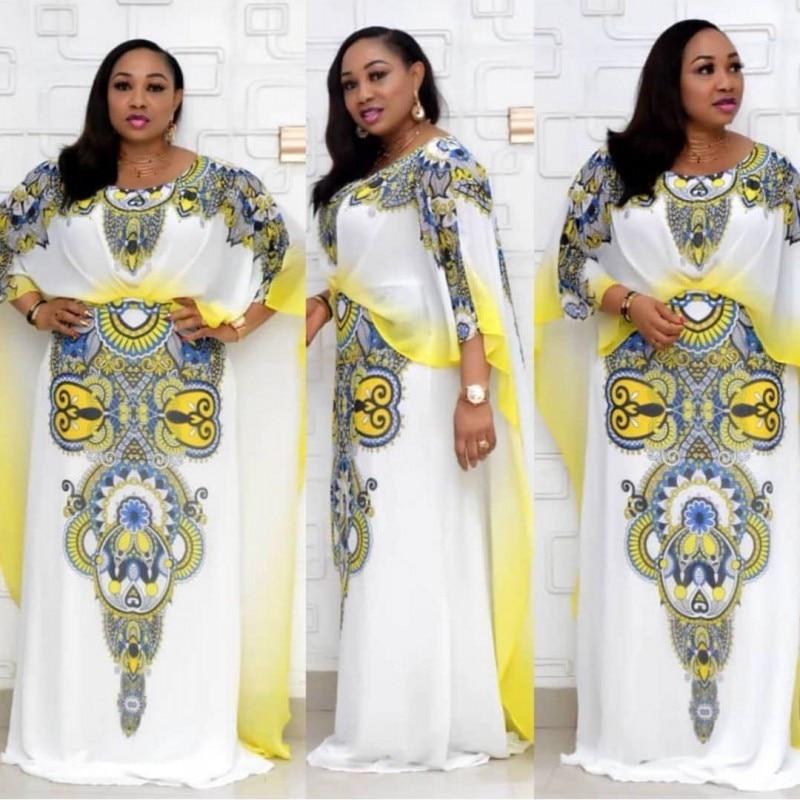African Dress For Women 2020 Fashion New Arrival African Dress Dashiki Gorgeous Print Chiffon Long Sleeve Maxi Dress For Female