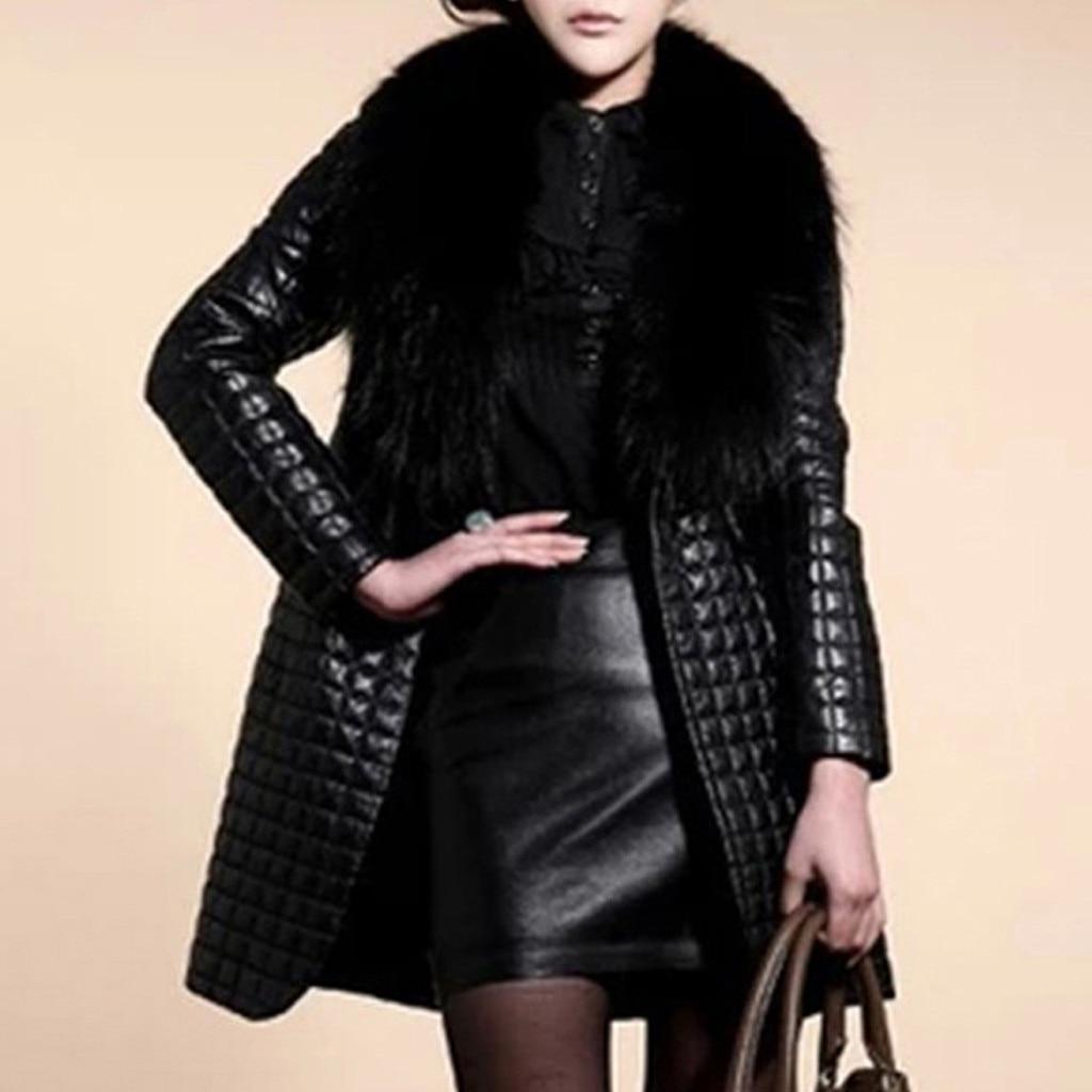 Abrigos de piel sintética para mujer, chaqueta de manga larga, abrigo de moda para mujer, abrigo largo cálido para invierno