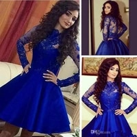 blue homecoming dresses a line long sleeves short mini appliques lace elegant cocktail dresses