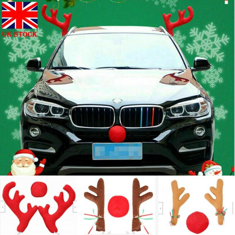 Grandes astas rojas de Reno + nariz + espejo lateral cubierta coche decoración de Navidad accesorios decoración navideña decoración divertida Antlers ornamentos