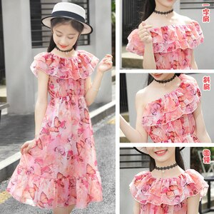Girls Dress Bohemia Style Beach Dresses Girls Short sleeve Floral Dress For Adolescents 6 8 10 12 14 Big Kids Girls Clothes