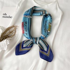 2021 Neckerchief Female Satin Square Scarf For Women Print Silk Shawl Headband Headscarf Hair Wrap Foulard Hijab Fashion Bandana