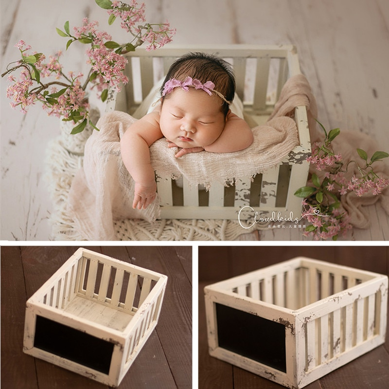 Newborn Photography Props Vintage Solid Wood Blackboard Basket Baby Girl Accessories Shooting Container Fotografie Bed Furniture