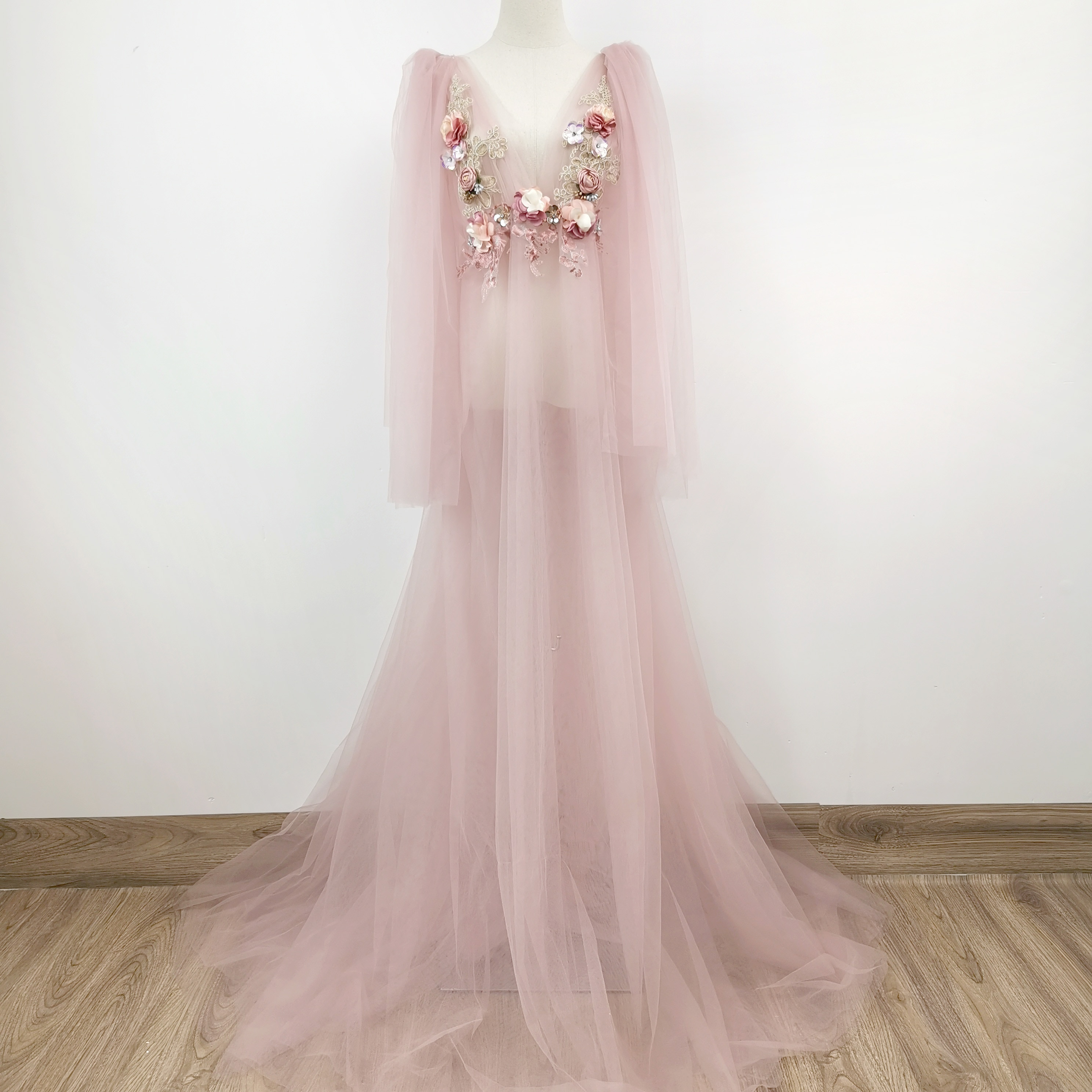Photo Shoot Soft Maxi Embroidery Maternity Dress Evening Prom Dress Tulle Robe Party Gown for Pregnancy Studio Photography Prop enlarge