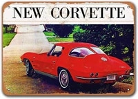 1963 corvette tin metal signs vintage cars sisoso plaques poster bar pub retro wall decor 12x8 inch