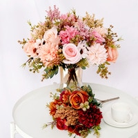 Искусственные цветы, роза, лаванда, Гортензия, Маргаритка, Осенний Гибридный букет для дома, свадьбы, Рождества, Декор, осень Шелковый искусс...