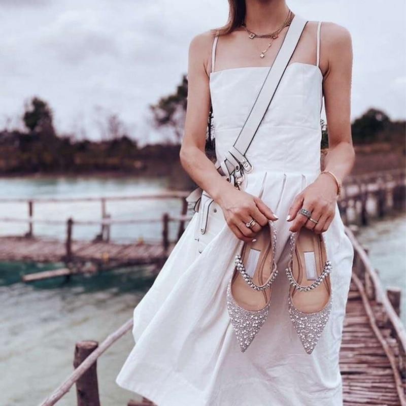حذاء زفاف نسائي مسطح من الكريستال ، حذاء زفاف فضي ، مدبب ، مثير ، مجموعة صيف 2020 الجديدة