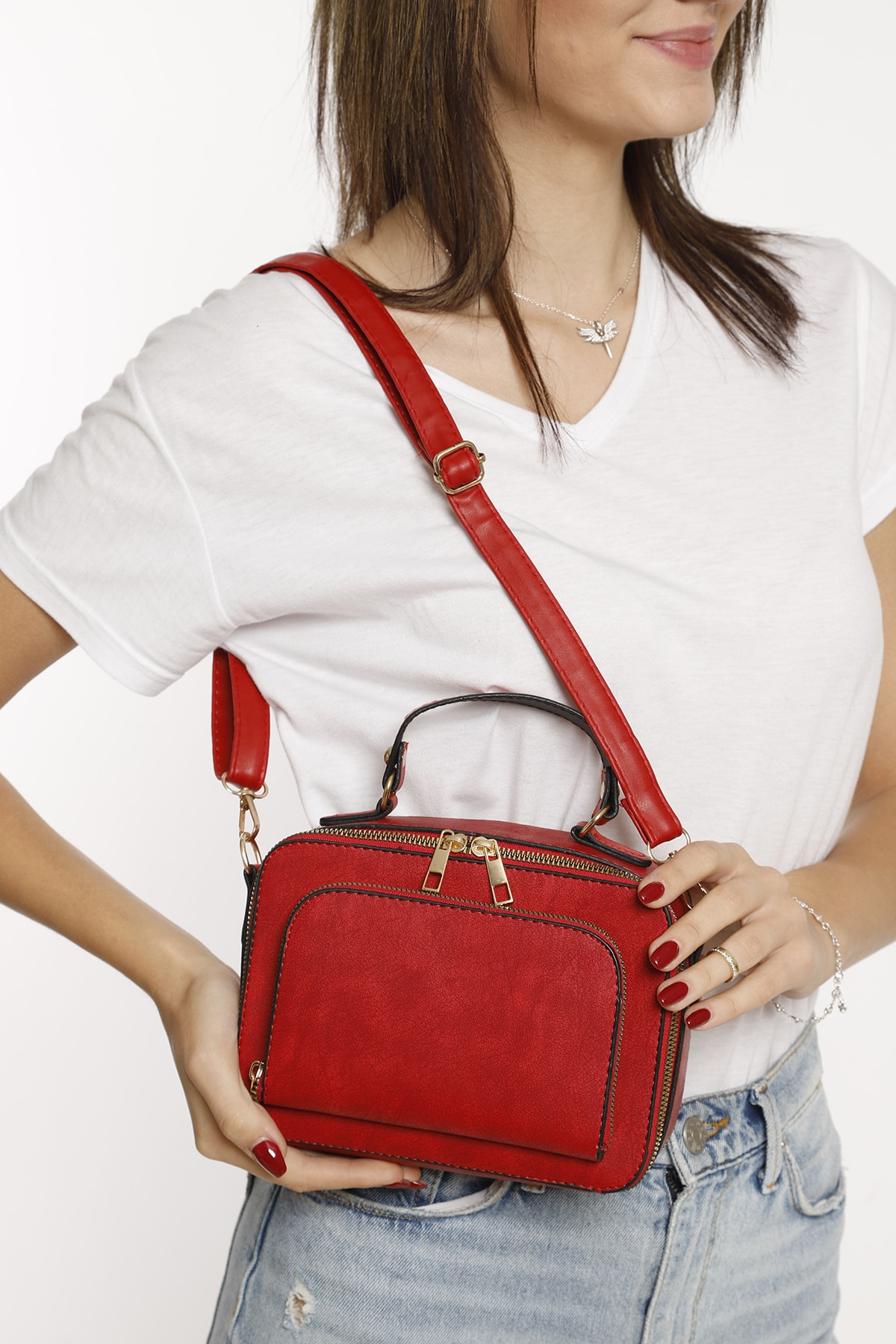 Red Multi Compartment Shoulder Bag Fashion Trend Shoulder Strap Waterproof Velvet Leather Casual Women's Shoulder Bag