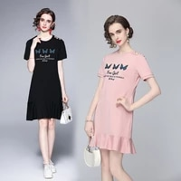 banulin 2021 summer women butterfly letter embroidery mermaid dress female buttons short sleeve casual tshirt vestidos