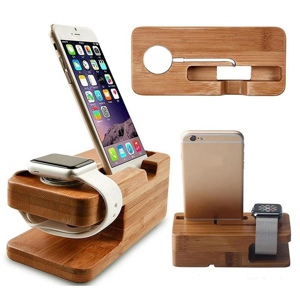 Multi-functional 2-in-1 Charging Dock Stand Station Watch Phone Charger Wooden Holder Space Saver Fo