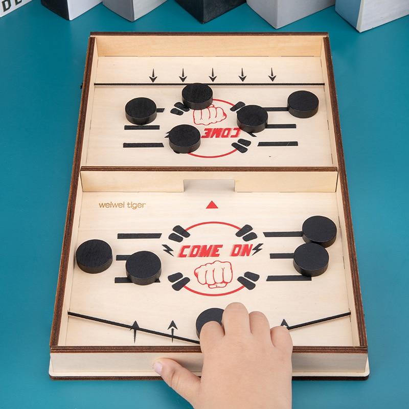 Jeu de société rapide Hockey fronde jeu de rondelle rythmé fronde palet gagnant amusant jouets intérieur Table jeu de société adultes bois enfants jouets cadeaux