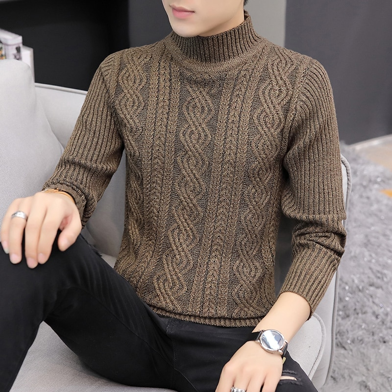 Fashion Spring Sweater Men Korea High Quality Pullovers Knitted Sweater Mens Winter Pullover Homme Warm Clothing New Slim Solid