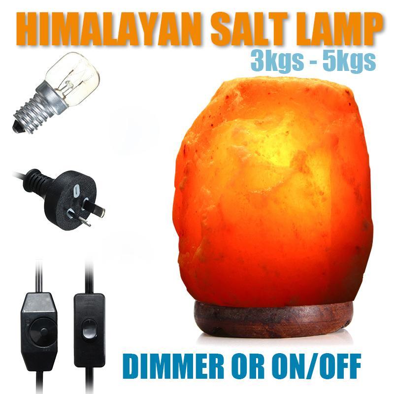 Lámpara de sal de roca cristalina del Himalaya de 3-5KG, purificador de aire, luz nocturna, cristal Rosa Natural, lámpara de noche disponible con bombilla