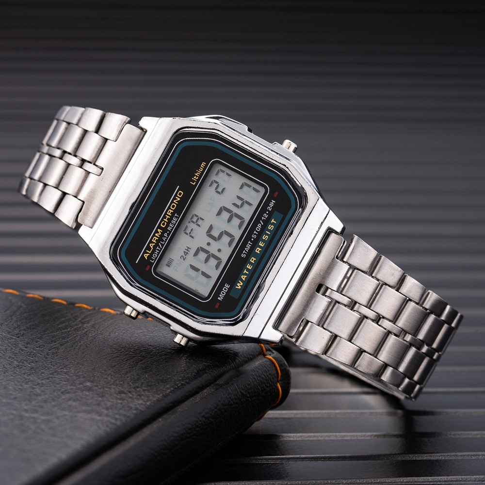 Фото - Digital Watch for Men LED Watches Men Digital Wristwatches Male Electronic Clock Lover Watches Stainless Steel Strap Kol Saati 2021 new sport travel lover watches carnival red digital clock gift for men waterproof electronics offers with free shipping