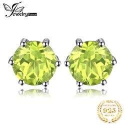 JewelryPalace 1ct Genuine Peridot Brincos Do Parafuso Prisioneiro 925 Brincos de Prata Esterlina Para Mulheres Coreano Brincos M