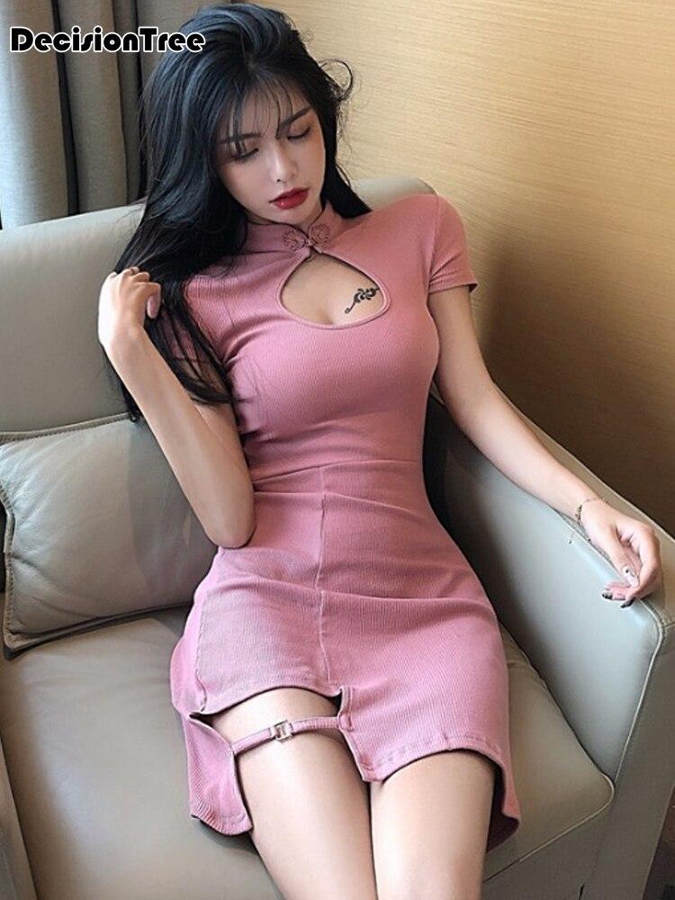 Vestido chino sexy qipao para mujer, vestido de noche de manga corta con agujeros, qipao elegante para fiesta y club oriental, 2020