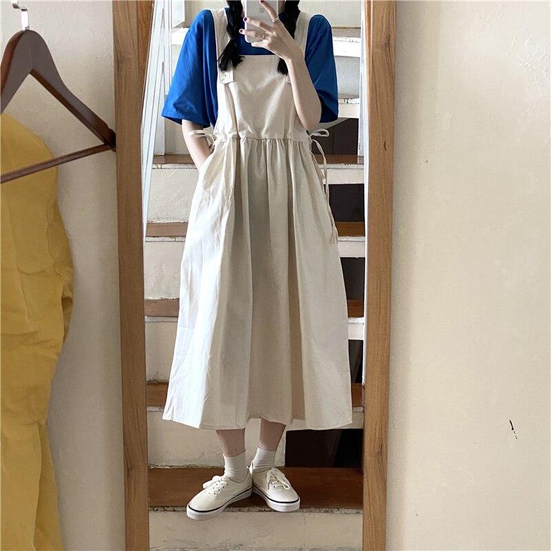 Japanese Girls Wear Suspender Dress Long below the Knee Student Suit Western Style Youthful-Looking